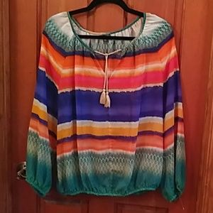 Hannah sheer colorful tunic top